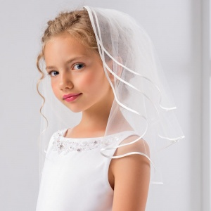 Girls Three Tier Satin Edge Communion Veil by Lacey Bell Style SV47