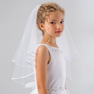 Girls Two Tier Soft Tulle Communion Veil by Lacey Bell Style SV51