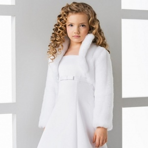 Girls Soft Faux Fur Bolero Jacket by Lacey Bell Style CJ26