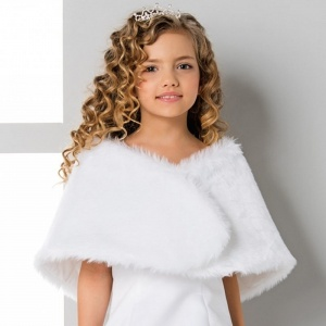 Girls White Soft Faux Fur Wrap by Lacey Bell Style CJ68