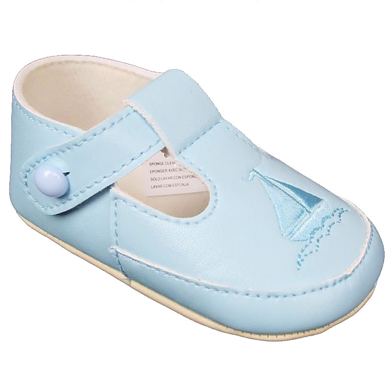 d06cce61 Baby Boys Sky Blue T-Bar Boat Pram Shoes Christening Wedding Party ...