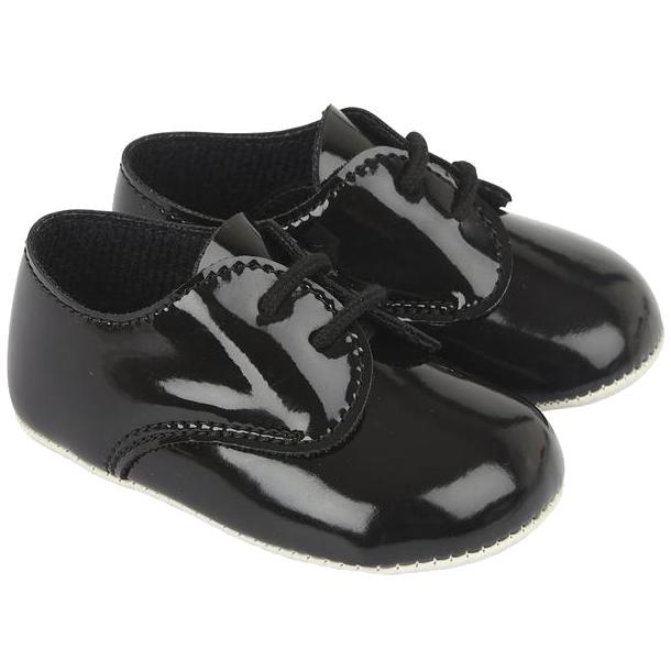 Baby Boys Black Patent Lace Shoes | Boys Baypods Shoes ...