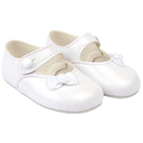 Baby Girl White Patent Pram Christening Occasion Shoes