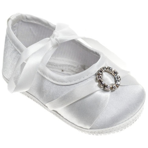 79359c1337e3 Baby Girls White Diamante   Ribbon Satin Pram Shoes ...