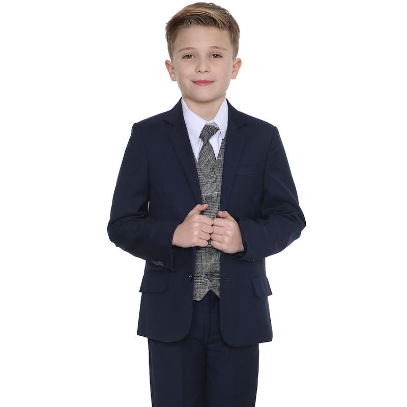 c64218324c050b Boys Navy Tartan Tweed Blue Check Suit ...