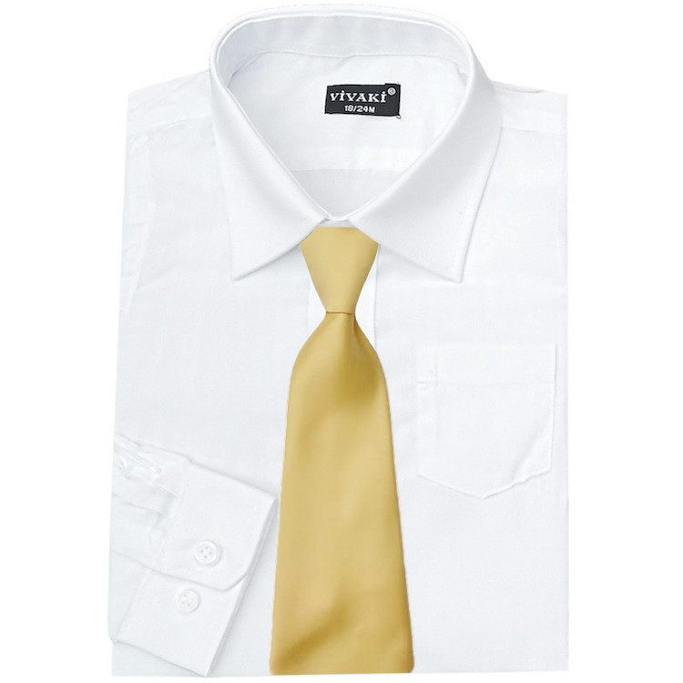 c0c8d791aa13 Boys White Formal Shirt & Gold Satin Tie   Boys Wedding Shirt ...