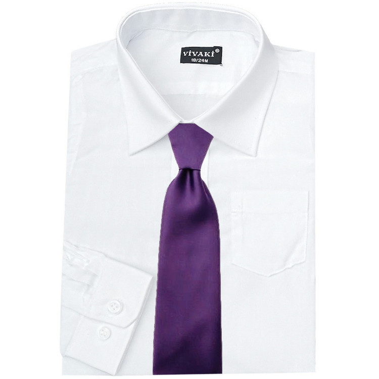 grey shirt purple tie