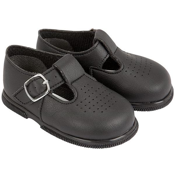 a2bb0a996b122 Boys Black Matt T-bar First Walker Shoes | Early Days ...