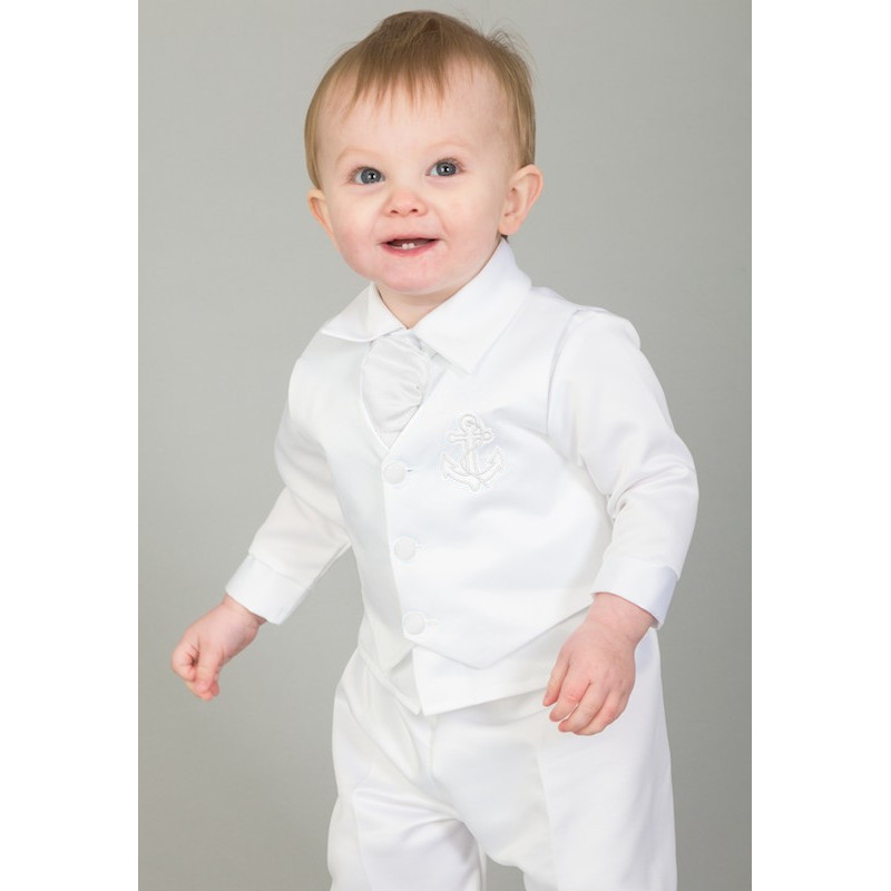 c8516909f Baby Boys White Anchor 5 Piece Satin Christening Suit