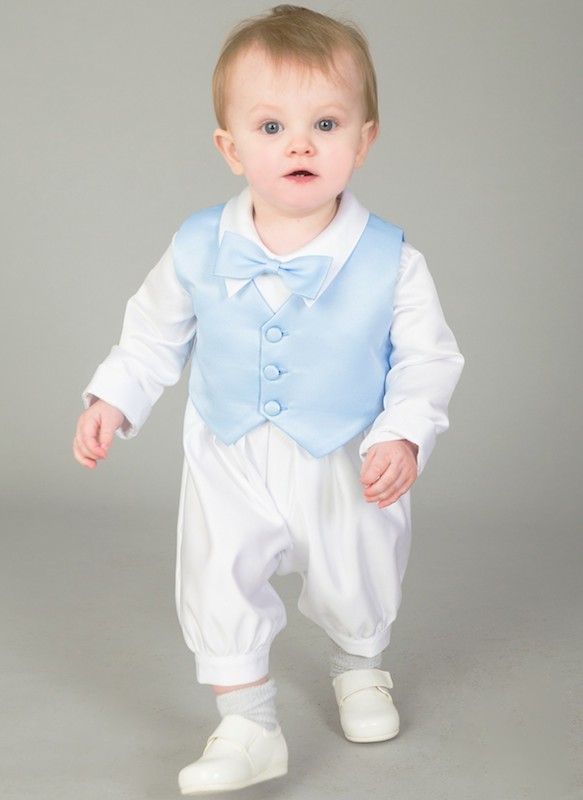 6141164f9 Baby Boys White Blue Romper