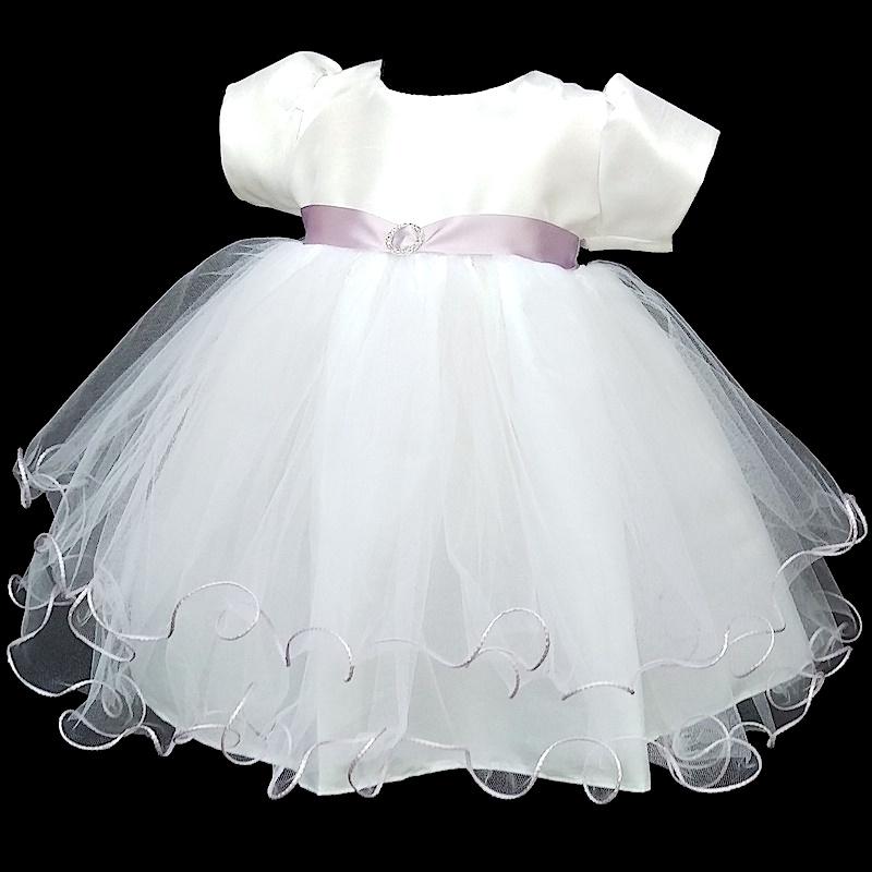 Baby Girls White Lilac Dress Baby Sash Dress Baby Diamante Dress