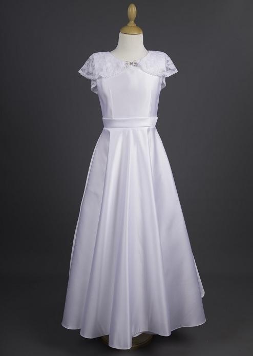 15339513a4 Millie Grace  Chloe  White Satin Communion Dress with Lace Cape