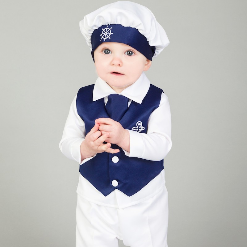 e95834a1f1071 Baby Boys Navy & White Anchor 5 Piece Satin Christening Suit