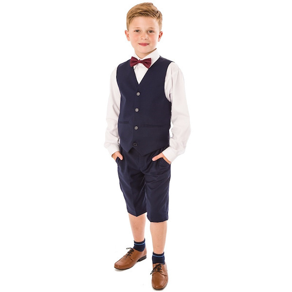 Navy 4 Piece Suit with Shorts | Wedding Suit | Ring Bearer ...