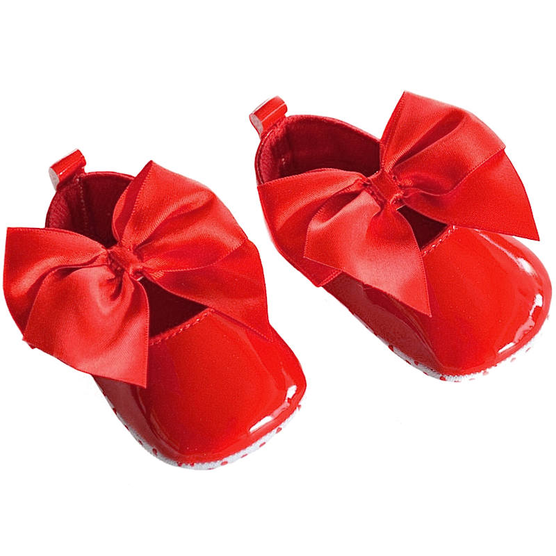 Diamonte Bow Pram Shoe In Red By Baypods