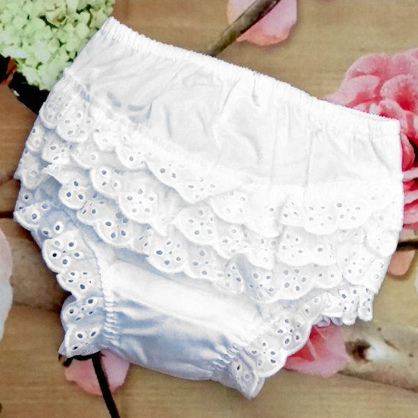 Baby Girls Broderie Anglaise Cotton Frilly Knickers Nappy Cover 6-12 months