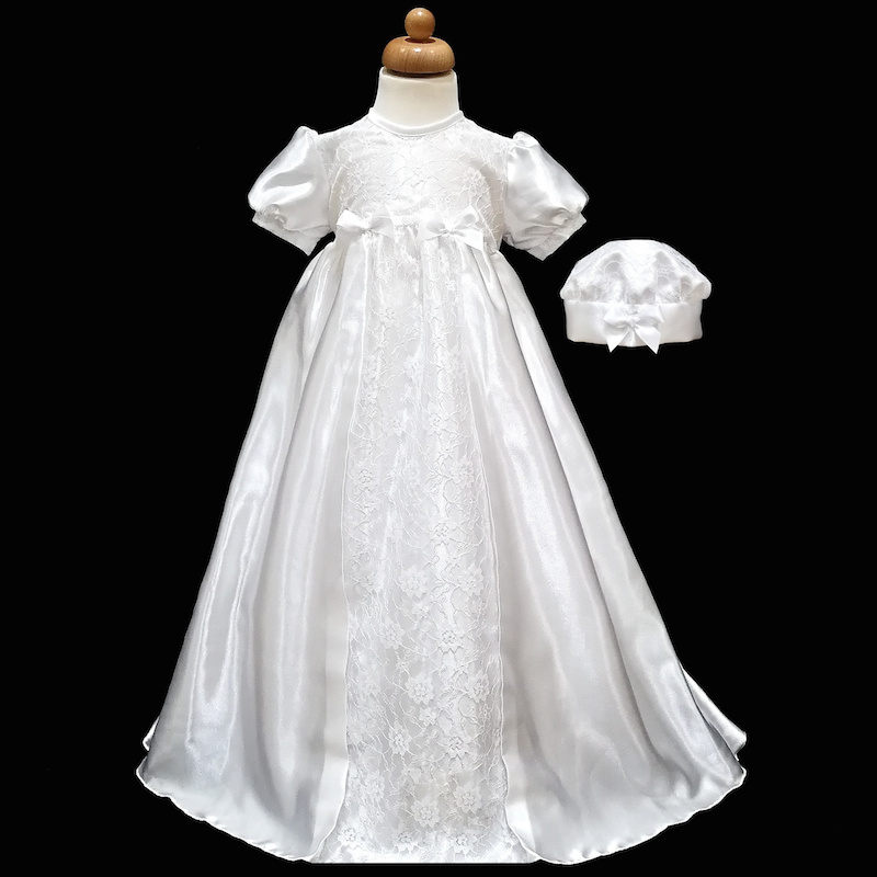 d5754e247c14e Baby Girls White Lace & Satin Christening Gown & Hat