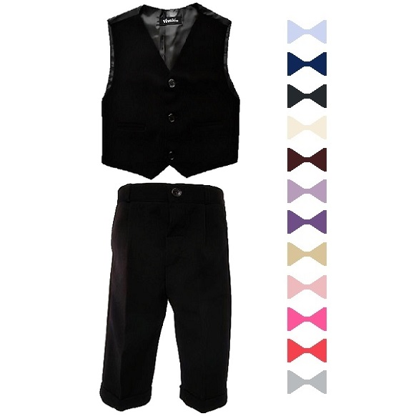 78bf8a05f81d Boys Black 3 Piece Bow Tie Suit | Wedding | Formal Occasion ...