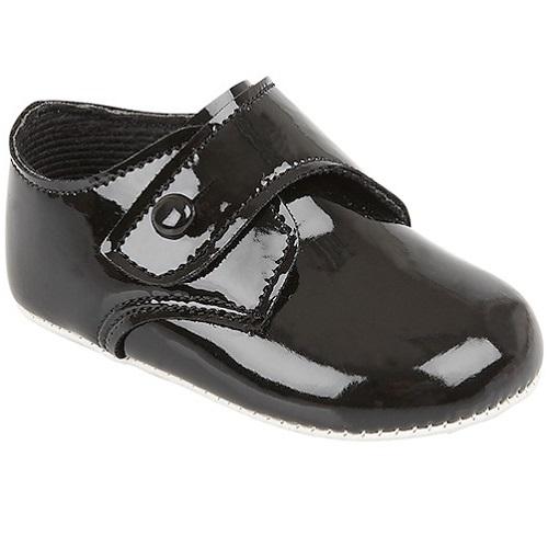 c90a95c0d353 Baby Boys Black Patent Button Pram Shoes