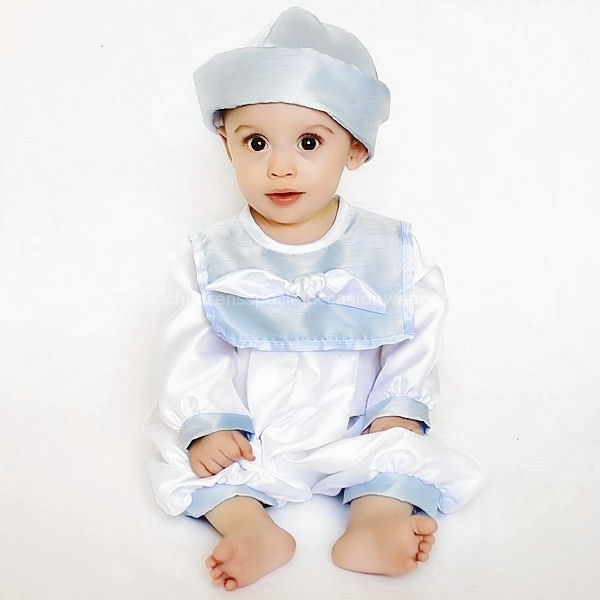 069c70596ab Baby Boys Blue   White Knot Collar Dupion Christening Romper   Hat