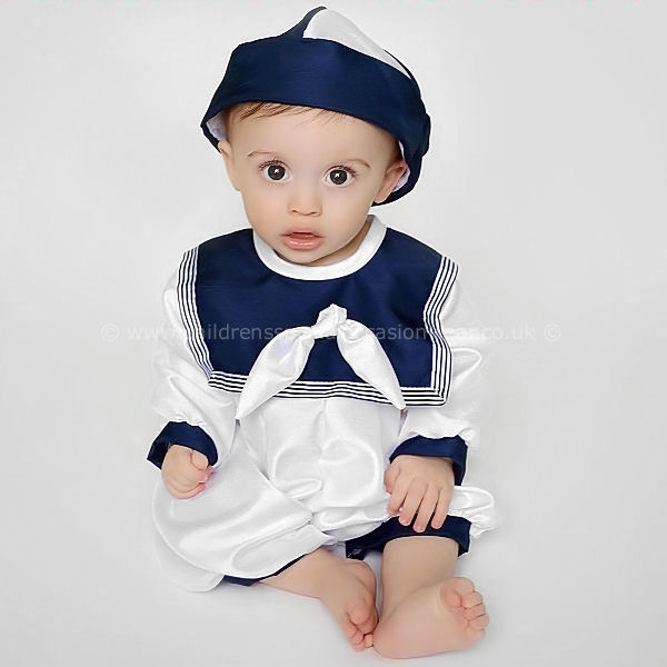 3600bc4dc7f Baby Boys Navy   White Knot Collar Dupion Christening Romper   Hat