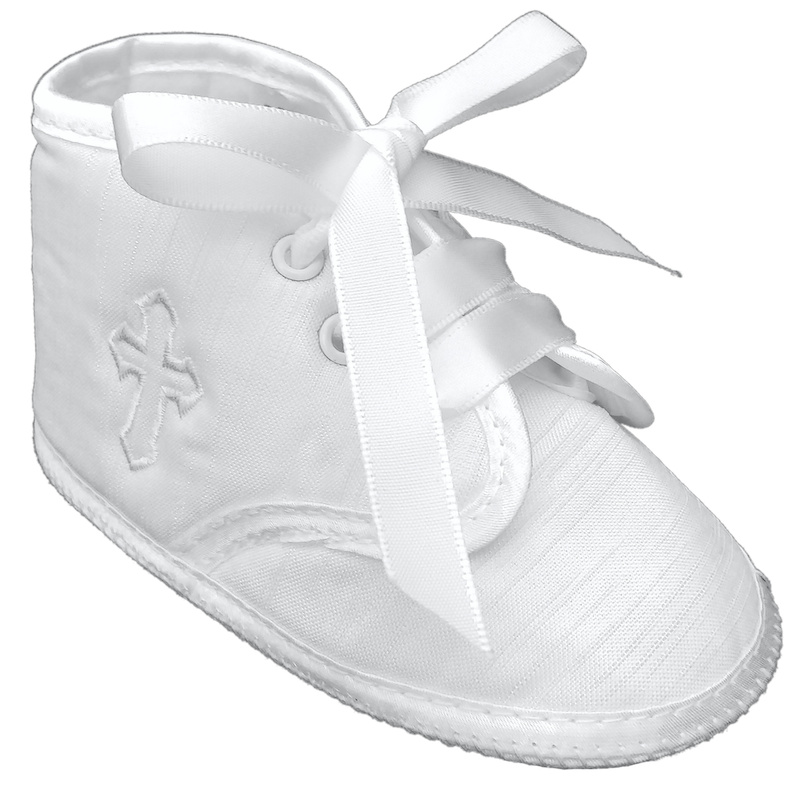 Baby boy ivory cross embroidery Christening Baptism pram shoes//booties 0-3 Months