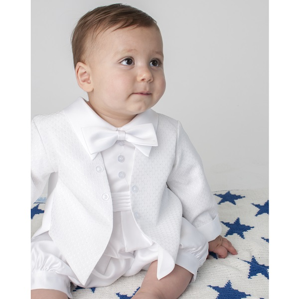 Boys Christening Outfit | Baby Boys White Tuxedo Romper | Baby Diamond Christening Suit ...