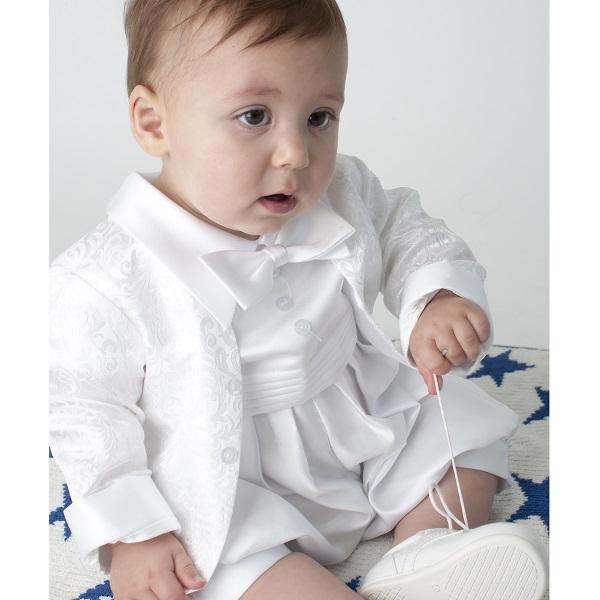 d6b170d95 Baby Boys White Christening Romper | Baby Christening Suit | Boys ...