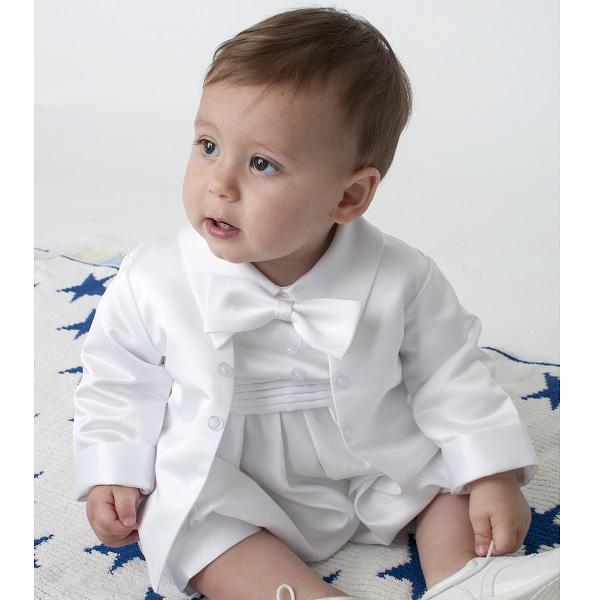 53c6058d0 Baby Boys White Tuxedo Style Christening Romper Suit ...