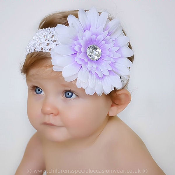 Baby Girls Lilac White Gerbara Flower Headband Baby Special