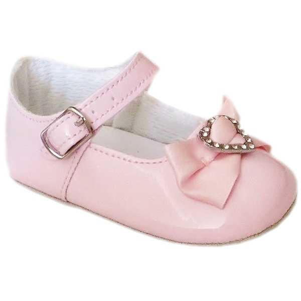 ad59a838a8ec Baby Girls Pink Christening Shoes Patent Diamante Heart Bow ...