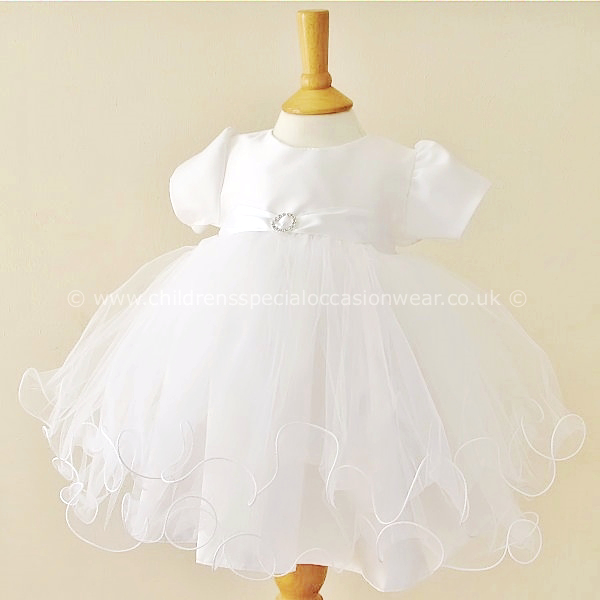 63d551b1be001 Baby Girls White Diamante Tulle Christening Dress