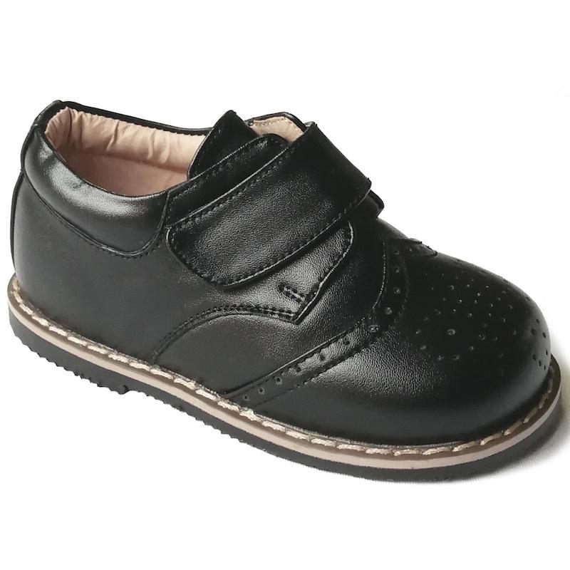 Boys Brogue Black Rubber Sole Velcro Shoes  fa79b1ef88c9