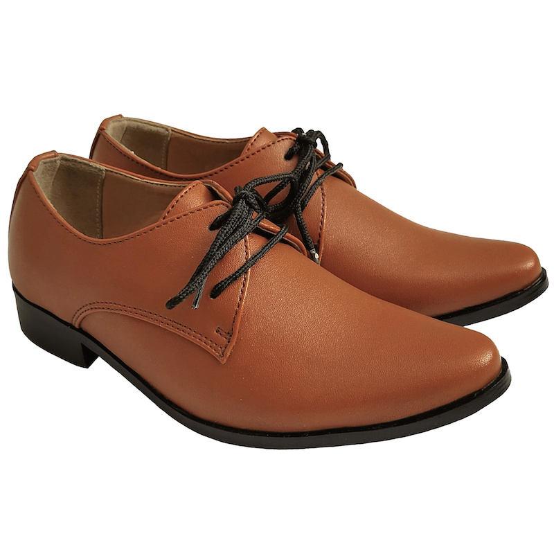 18749c1ba Boys Brown Matt Derby Pointed Shoes   Formal Suit Shoes ...