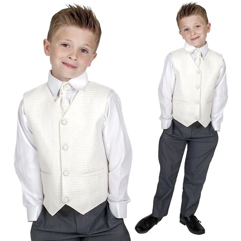 Page Boy Suits Baby Boys Waistcoat Suit Black Trousers Diamond Pattern