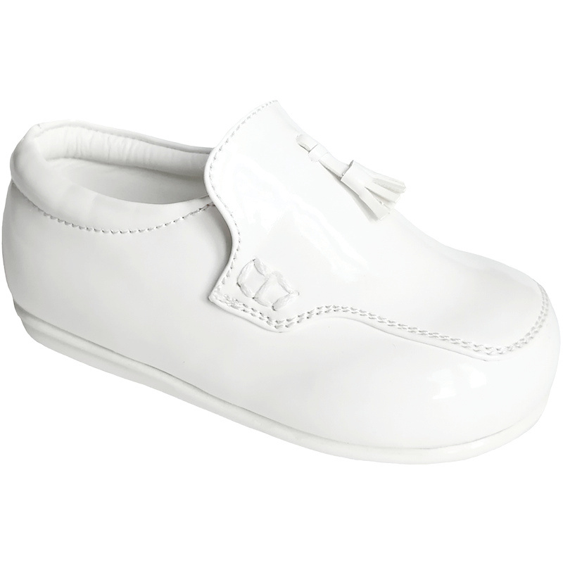 1579f49dd11 Boys White Patent Smart Tassel Loafers