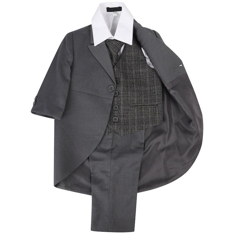 329933c48 Boys Grey Tail Tartan Tweed Orange Check Suit ...