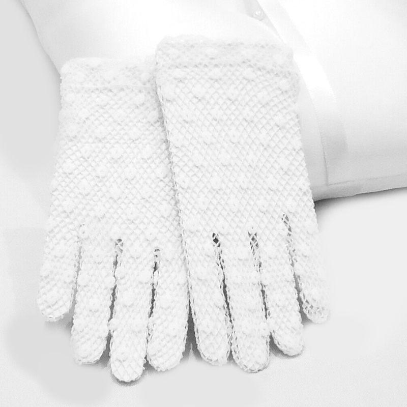 White Ivory 1st First Holy Communion Baptism Flower Girls Fingerless Lace Gloves