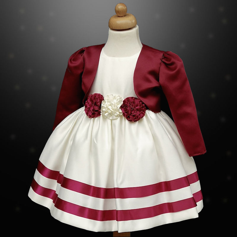 enjoy lowest price rich and magnificent search for genuine Girls Burgundy & Ivory Ribbon Rosette Dress & Bolero Jacket