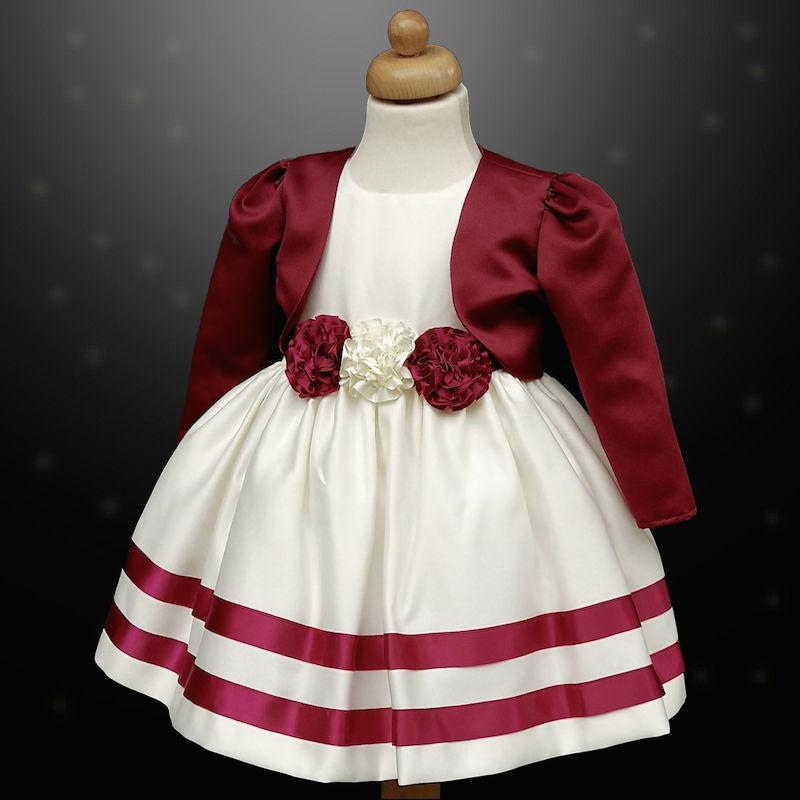 54f64d98b7c3 Girls Burgundy Ivory Ribbon Rosette Dress   Bolero Jacket Baby ...
