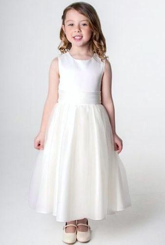 717238923e2 Girls Ivory Diamante Organza Dress Flower Girl Bridesmaid ...