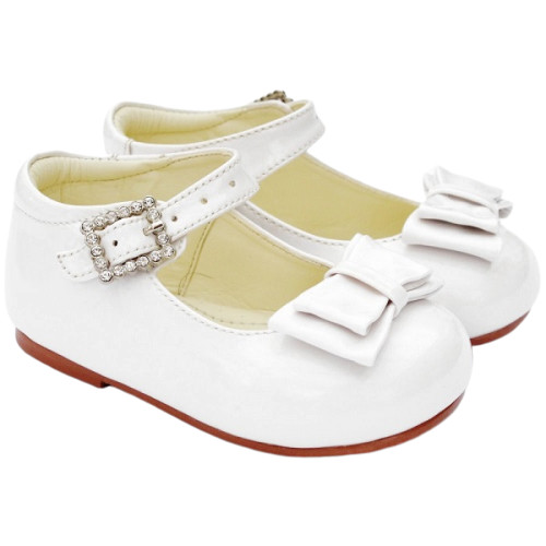 Girls White Patent Double Bow Shoes