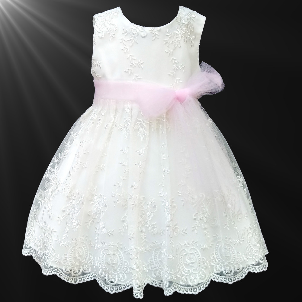 Girls Ivory Floral Lace Dress Baby Pink Organza Sash Flower Girl