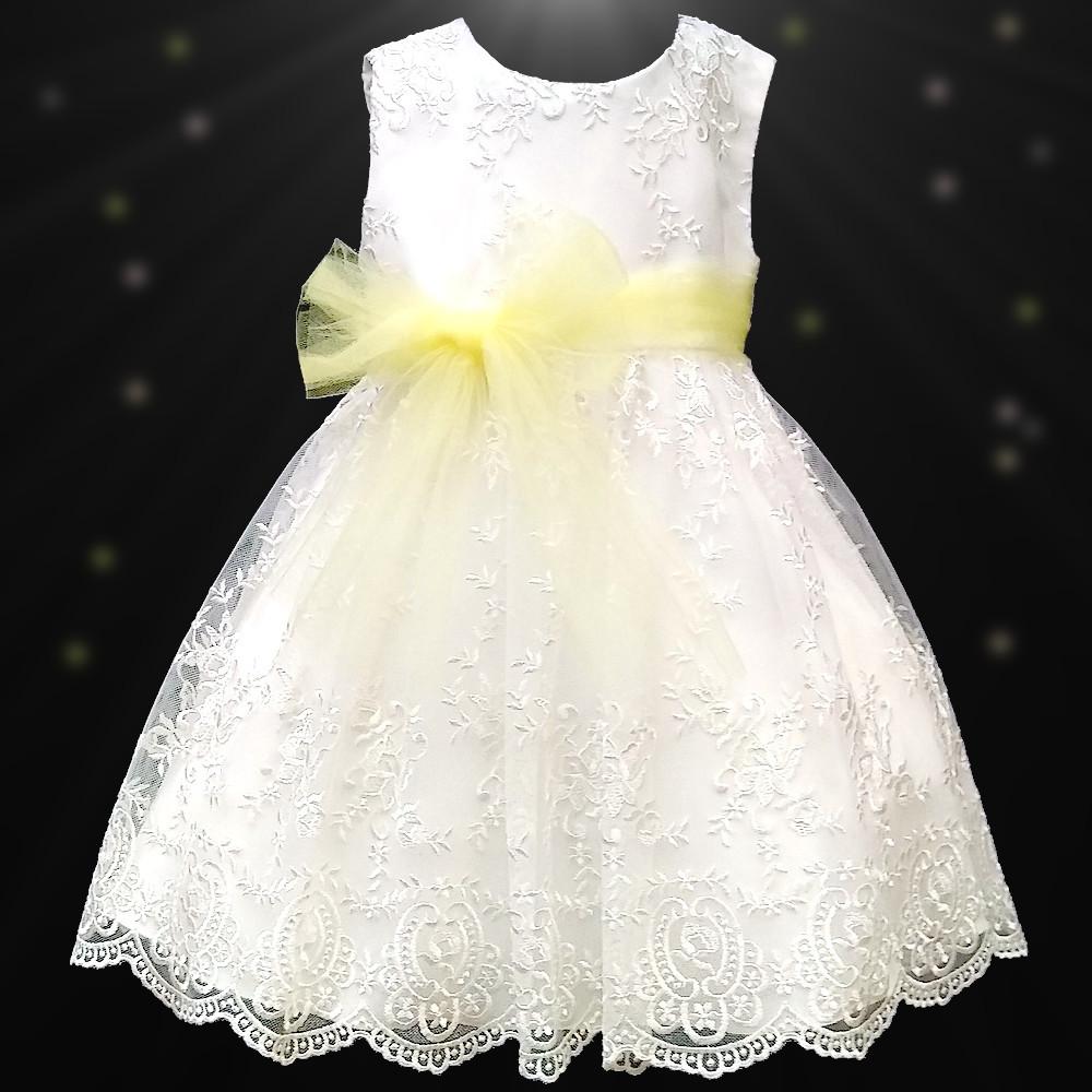 Girls Ivory Floral Lace Dress Lemon Organza Sash Flower Girl