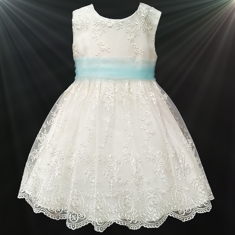 Girls ivory floral lace dress sky blue sash flower girl girls ivory floral lace dress with sky blue organza sash izmirmasajfo