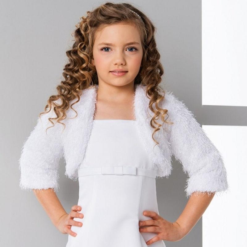 5508df7e94e3 Girls Knitted 3 4 Sleeve Bolero Jacket Lacey Bell CJ165 ...