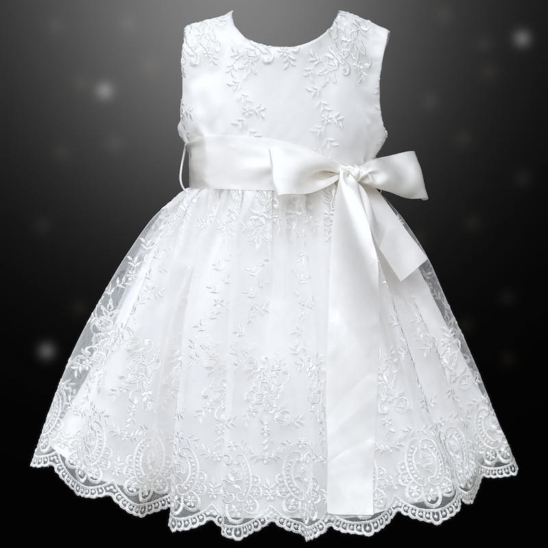6db3cf548aa Girls White Floral Lace Dress with Satin Sash