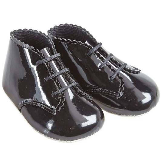 dd9db19456784 Baby Black Patent Lace Up Pram Shoes Boots