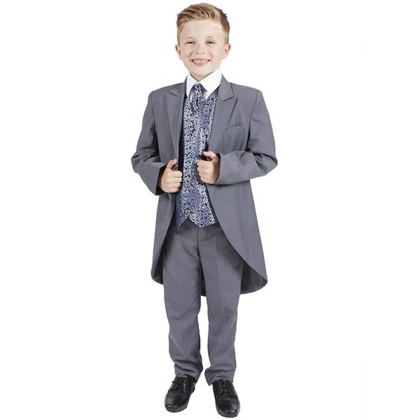 04d0fca6219b06 Grey Navy Swirl 6 Piece Slim Fit Tail Suit | Baby Boys | Boys ...
