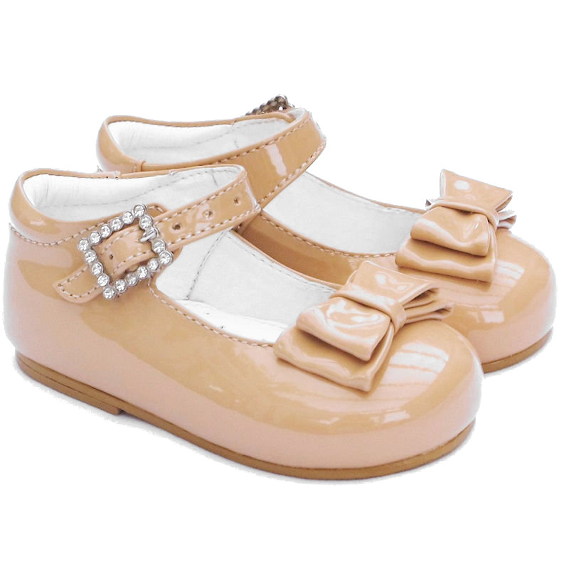 ad72c1fda37a Girls Camel Patent Double Bow Special Occasion Shoes